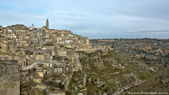 The city of Matera sits on a hill