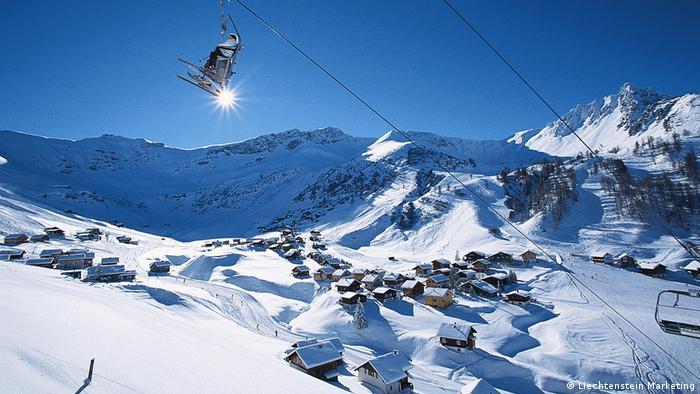 View from mountaintop of the ski resort of Malbun in wintertime in Liechtenstein