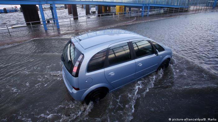 A car caught in flood waters