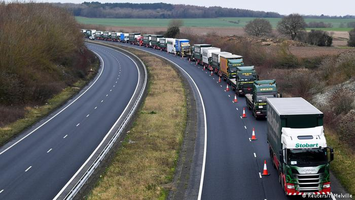 Lorries queue near Dover, England (Reuters/T. Melville)