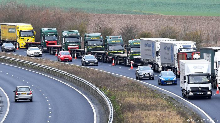 A line of trucks along a road near the port of Dover in a test of how the region would cope in case of a no-deal Brexit (Reuters/T. Melville)