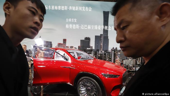 A red Maybach on show in Beijing, China
