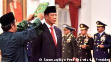 Indonesien Vereidigung Doni Monardo, Katastrophenschutzbehörde, durch Präsident Joko Widodo