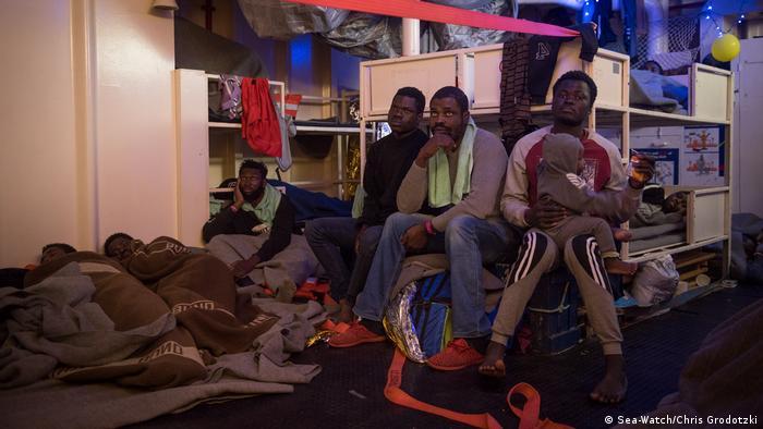 Refugees aboard Sea Watch 3