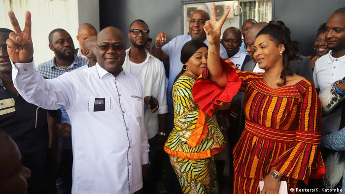 Kongo Kinshasa Felix Tshisekedi nach der Stimmabgabe (Reuters/K. Katombe)
