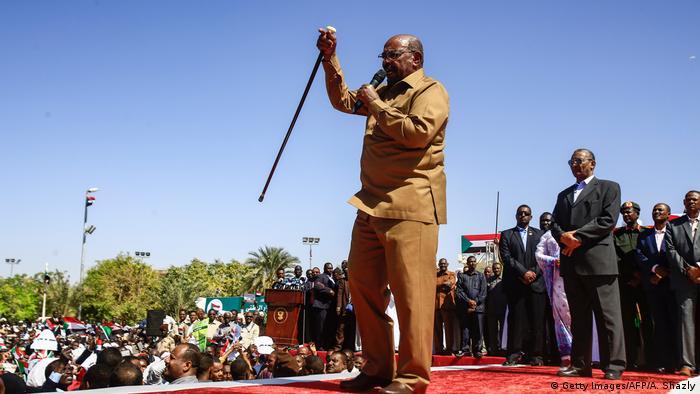 President Omar al-Bashir speaking at a Khartoum rally