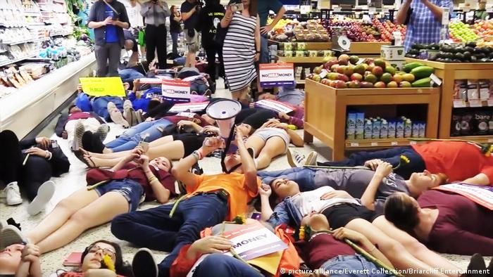 'Die-in' protest by survivors of the Stoneman school massacre against Publix supermarkets' support for NRA-affiliated politicians, Coral Springs, Florida