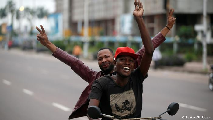 Tshisekedi supporters celebrate his election victory in the capital Kinshasa