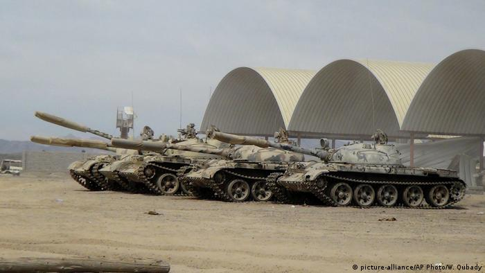 Tanks positioned at the al-Anad Air Base