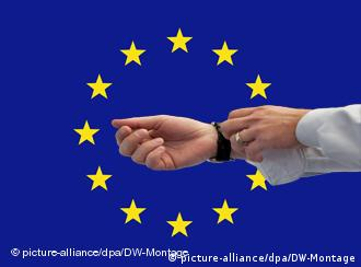 Banker's outstretched hands superimposed over the EU flag