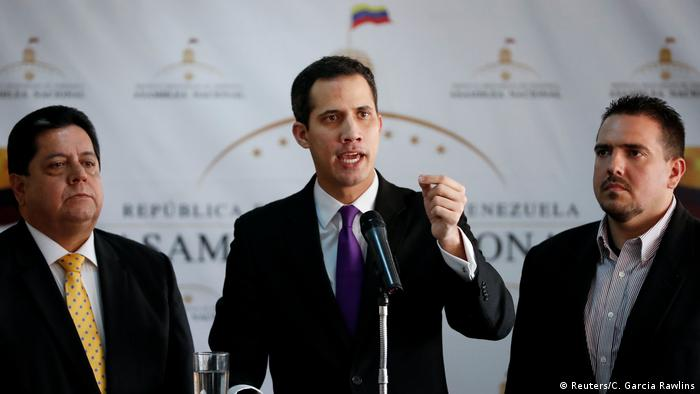 Juan Guaido in a press conference