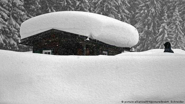 Snow-covered shack in Austria