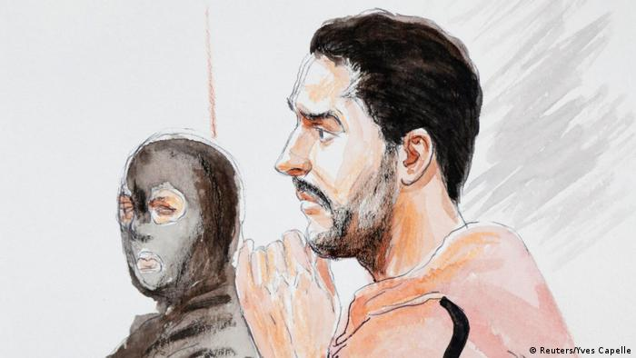 Court drawing of Nemmouche in an orange jumpsuit during the trial in Brussels (Reuters/Yves Capelle)
