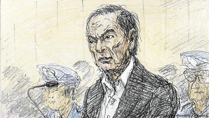 Desenho de Carlos Ghosn durante audiência em tribunal japonês