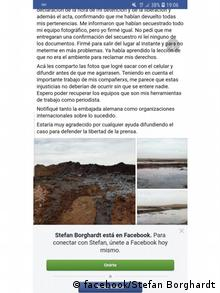 Screenshot facebook Stefan Borghardt Argentinien