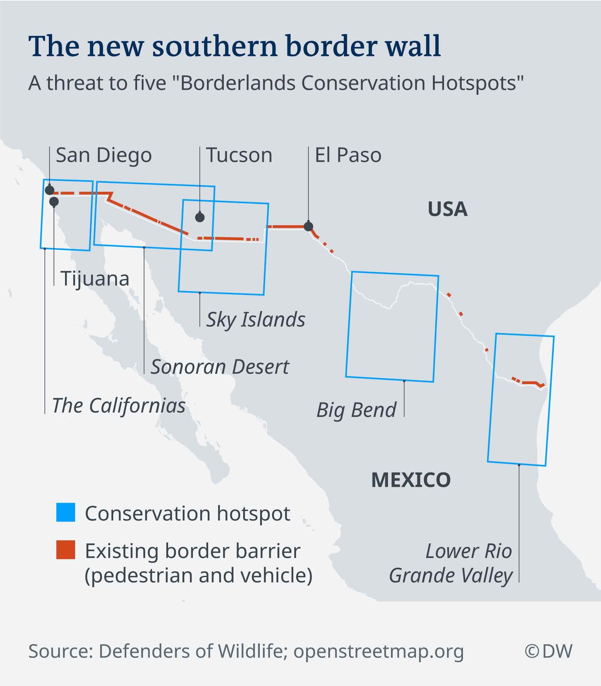 Graphic depicting the five borderlands conservation hotspots