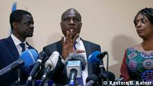 Martin Fayulu, Congolese joint opposition presidential candidate, speaks during a press conference in Kinshasa, Democratic Republic of Congo, January 8, 2019. REUTERS/Baz Ratner