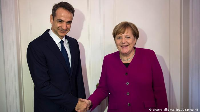 German Chancellor Angela Merkel and Greek opposition leader Kyriakos Mitsotakis in Athens on January 11, 2019. (picture-alliance/dpa/A. Tzortzinis)