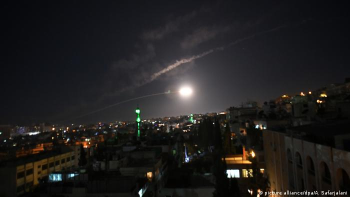 Syrian air defenses over Damascus