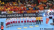 Handball WM in Deutschland und Dänemark - das Spiel Mazedonien gegen Japan in München am 11.01.2019 Mazedonien Team vor dem Spiel gegen Japan in München