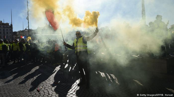 Gelbwesten-Demonstranten in Marseille (Foto: Getty Images/AFP/B. Horvat)