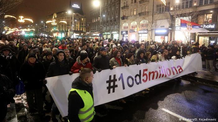 Акция протеста в Белграде против президента Александара Вучича, 12 января 2019 года