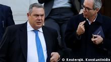 Greek Defense Minister and coalition partner Panos Kammenos exits the Maximos Mansion following a meeting with Greek Prime Minister Alexis Tsipras in Athens, Greece, January 13, 2019. REUTERS/Alkis Konstantinidis