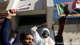 Jemen. Sanaa: Sudanesische Demonstranten protestieren gegen Präsidenten Omar al-Bashir