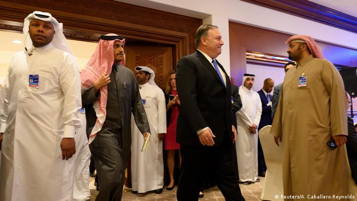 US Secretary of State Mike Pompeo and Qatari Deputy Prime Minister and Minister of Foreign Affairs Sheikh Mohammed bin Abdulrahman Al-Thani at the Sheraton Grand in Doha (Reuters/A. Caballero-Reynolds)