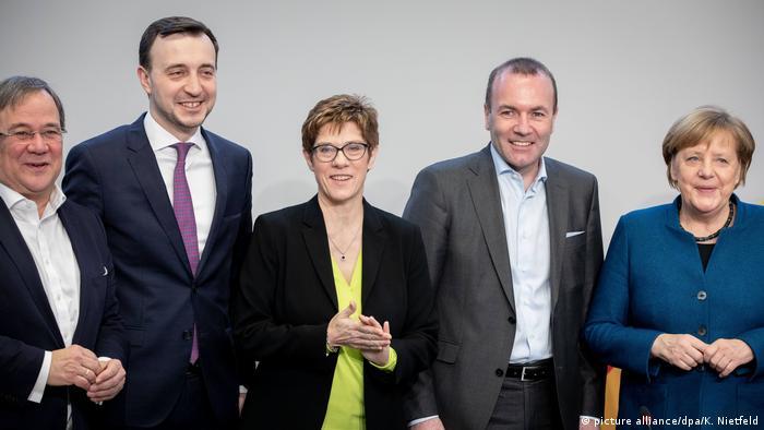 Politicians of Germany's CDU party: Armin Laschet, Paul Ziemiak, Annegret Kramp-Karrenbauer, Manfred Weber, and Angela Merkel (l. to r.)