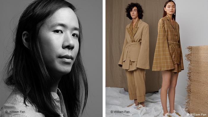 Ein Porträt des Designers William Fan neben dem Bild von zwei Models in langen Kurzmänteln. (William Fan)