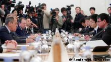 14.01.2019 *** Russian Foreign Minister Sergei Lavrov (L) and his Japanese counterpart Taro Kono (R) attend a meeting in Moscow, Russia January 14, 2019. REUTERS/Maxim Shemetov