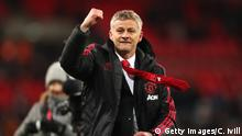 LONDON, ENGLAND - JANUARY 13: Ole Gunnar Solskjaer, Interim Manager of Manchester United celebrates victory after the Premier League match between Tottenham Hotspur and Manchester United at Wembley Stadium on January 13, 2019 in London, United Kingdom. (Photo by Catherine Ivill/Getty Images)