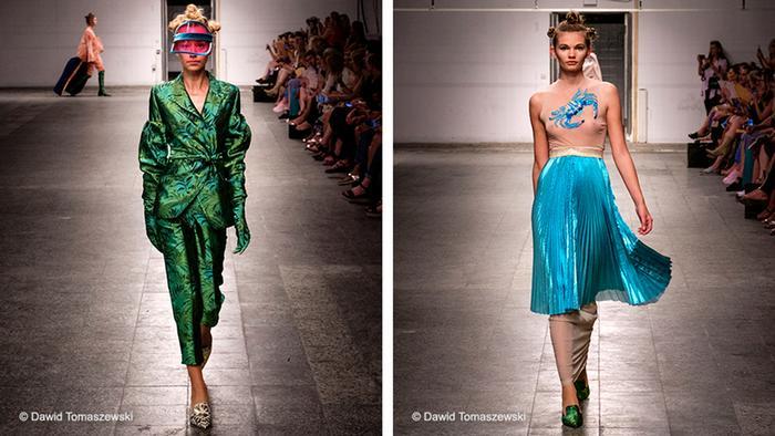 Zwei Models führen Mode des polnischen Designers vor. (C) Dawid Tomaszewski