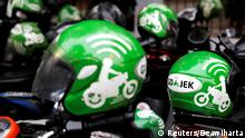 27.10.2018 FILE PHOTO - Go-Jek driver helmets are seen during Go-Food festival in Jakarta, Indonesia, October 27, 2018. REUTERS/Beawiharta/File Photo
