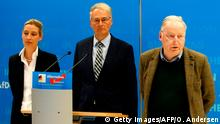 Alternative for Germany (AfD) far-right party's member and MP Roland Hartwig (C), AfD co-leader Alexander Gauland (R) and AfD's parliamentary group co-leader Alice Weidel arrive to give a press conference on plans of Germany's domestic intelligence agency BfV to place the party under surveillance on January 15, 2018 in Berlin. - Germany's domestic intelligence will step up monitoring for political extremism of the AfD, sources said, a blow to the party in a busy election year. However, the agency has shied away from immediate full surveillance of the entire party, including phone and email taps, the use of undercover informants and the collection of personal data on MPs. (Photo by Odd ANDERSEN / AFP) (Photo credit should read ODD ANDERSEN/AFP/Getty Images)