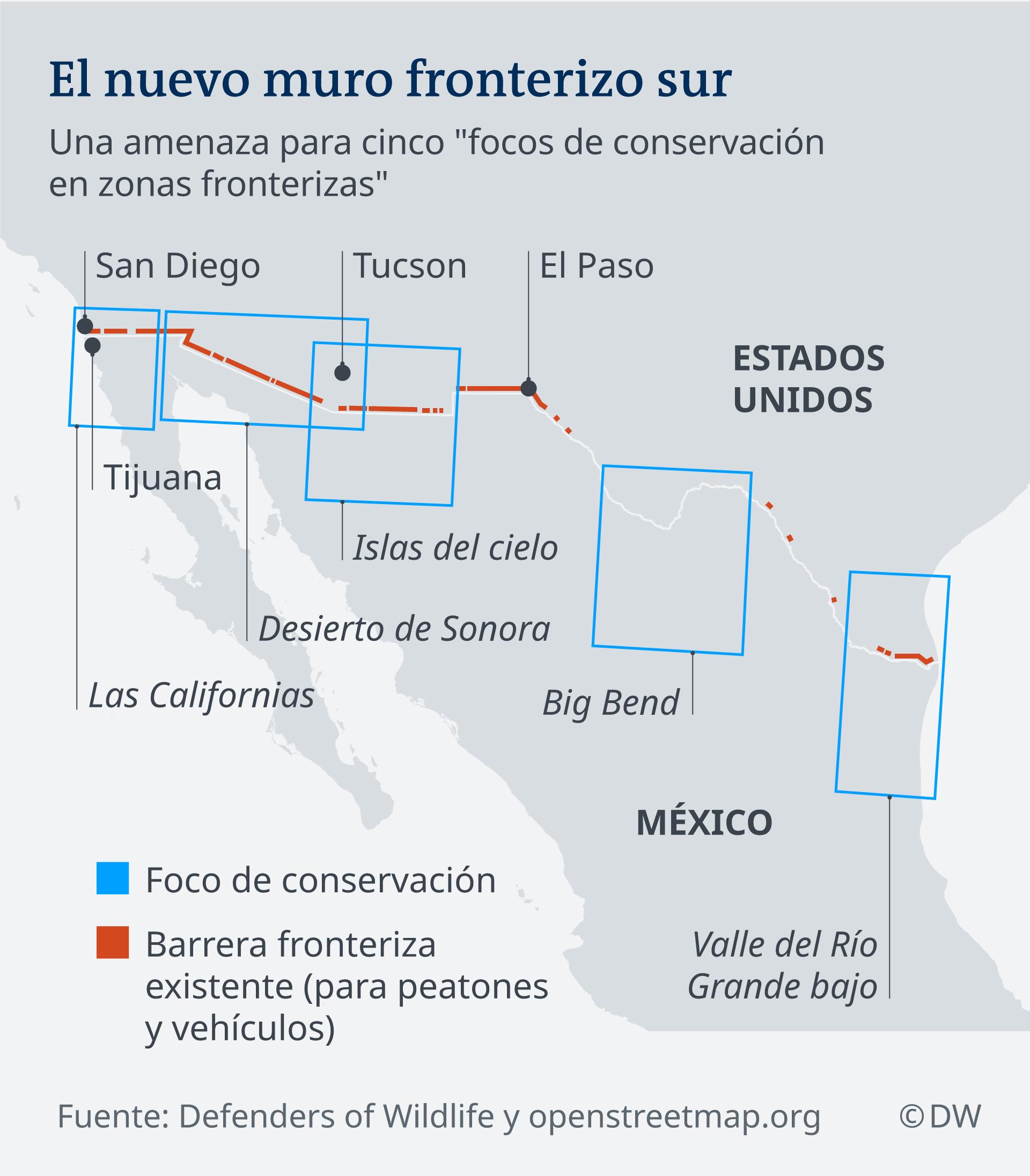 Karte Grenze USA Mexico ES