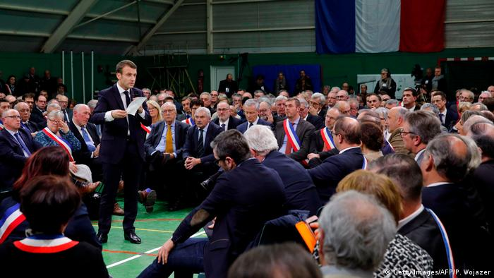 French President Emmanuel Macron at a meeting to launch the grand national debate