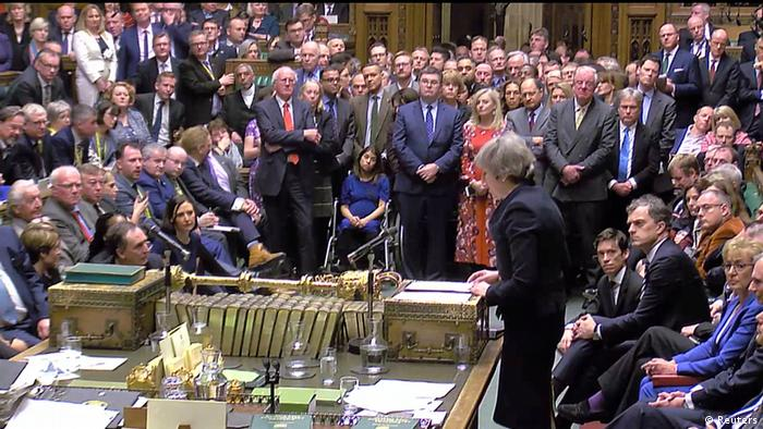 May speaking to a crowded House of Commons
