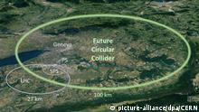 HANDOUT - 15.01.2019, Schweiz, Genf: ILLUSTRATION - Elipsen, die auf dem Screenshot einer Google-Earth-Karte eingezeichnet wurden, zeigen die Ausmaße des bestehenden Teilchenbeschleunigers (Large Hadron Collider, LHC), mit einen 27 Kilometer langen Tunnel (links). Die neue, von den Physikern der Europäischen Organisation für Kernforschung (Cern) vorgeschlagene Anlage (grün), sieht einen 100 Kilometer langen ringförmigen Tunnel teils unter demGenfer See vor. Sie wäre erheblich leistungsfähiger und könnte deutlich mehr Teilchenkollisionen erzeugen. Sollte das Projekt - für das 24 Milliarden Euro veranschlagt werden - verwirklicht werden, würden ab Ende der 30er Jahre Elektronen und Positronen auf Kollisionskurs gebracht werden. (zu dpa Cern-Physiker schlagen neuen 100-Kilometer-Teilchenbeschleuniger vor) Foto: -/CERN/dpa - ACHTUNG: Nur zur redaktionellen Verwendung im Zusammenhang mit der aktuellen Berichterstattung und nur mit vollständiger Nennung des vorstehenden Credits +++ dpa-Bildfunk +++  