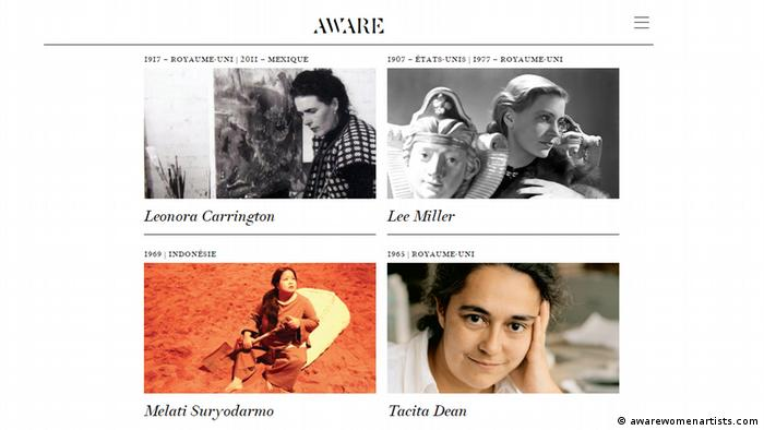 Screenshot of awarewomenartists.com (awarewomenartists.com)