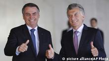 Brasilien Treffen vom Präsident Jair Bolsonaro mit dem argentinischen Präsident Mauricio Macri