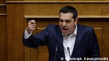 16.01.2019+++ Greek Prime Minister Alexis Tsipras addresses lawmakers during a parliamentary session before a confidence vote in Athens, Greece, January 16, 2019. REUTERS/Alkis Konstantinidis
