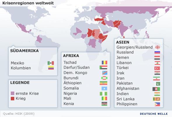 Krisenregionen weltweit(Grafik:DW)
