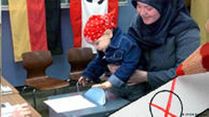 Beteiligung der muslimischen Wähler an den Bundestagwahlen.