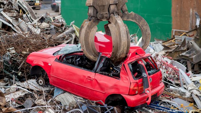 Volkswagen car being scrapped in a junkyard
