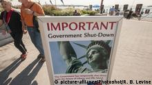 USA New York U.S. Schild zum Shutdown