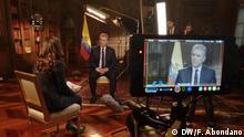 Unterschiedlichen Aufnahme Großen eines Interviews mit dem kolumbianischen Präsidenten Iván Duque.