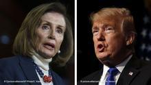 Kombobild Pelosi vs Trump