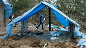 A tent in the Calais migrant camp